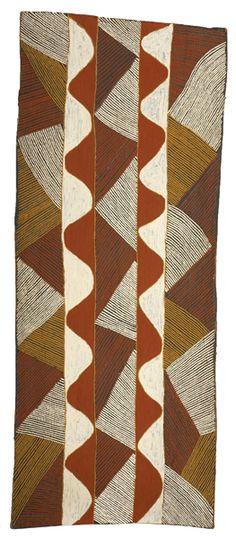 Jilimara design by Aileen Henry Ripijingimpi / natural pigments on bark / 9th National Aboriginal Art Award 1992, Australia