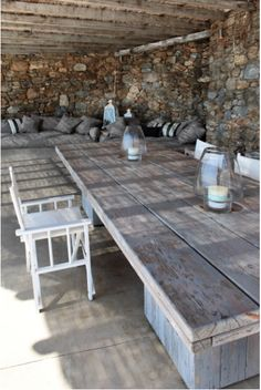 Love the rustic wooden outdoor table