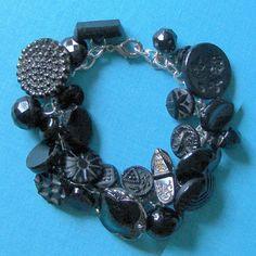 Antique Black Glass Button Charm Bracelet