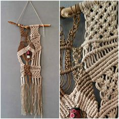 Modern bohemian one of a kind Macrame wall art, in neutral shades of light brown hemp cord and off white cotton thread, hanging on a thick white branch, decorated with a colorful handmade focal fabric bead.