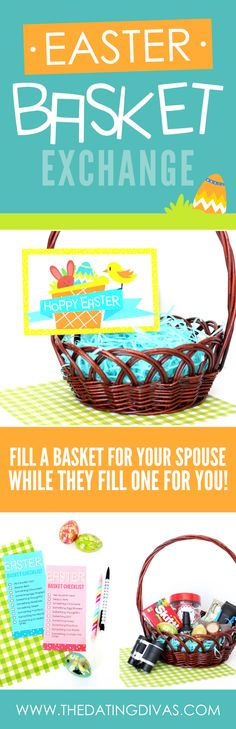 Fill an Easter Basket for your spouse, while they fill one for you! #EasterBasketIdeas #EasterBasketForAdults
