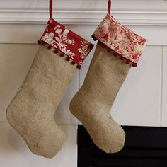 Burlap Stocking with Retro Red Christmas Toile or Christmas Print Cuff. (Etsy; catarinaloveshomes; 23.)