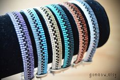 Ombre Teal Bracelet // Beaded Loom Bracelet // by Gomeow on Etsy