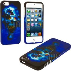 Amazon.com: myLife (TM) Blue Scary Skull Series (2 Piece Snap On) Hardshell Plates Case for the iPhone 5/5S (5G) 5th Generation Touch Phone ...