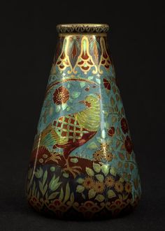 ZSOLNAY VASE WITH BIRD AND FLOWER DECOR