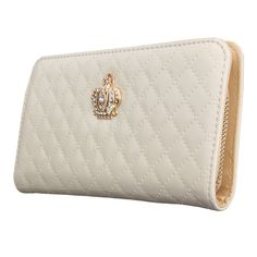 OURBAG Women Clutch Wallet Elegant Crown Lady Long Purse Leather Wallet Beige. Material: PU leather; lightweight, durable and fashionable. Clutch designed for the safety of your properties. Designed to hold cash, cards and other little things; you can simply hold it on hand or put it in bag. Match with suitable apparel for different occasion. Wonderful gift for you and your female friends. Structure: 8 card slots,1 zipper pocket,2 money compartments. Dimensions (L*W*H) : 8.14 X 4.13 X…