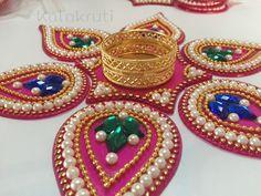 Acrylic Indian Rangoli with votive holder Heart by Kalakruti