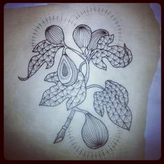 fig tattoo black white simple