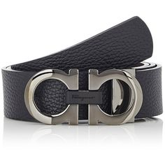 Salvatore Ferragamo Men's Double Gancini-Buckle Belt (24,185 INR) ❤ liked on Polyvore featuring men's fashion, men's accessories, men's belts, black, mens leather accessories, mens genuine leather belts, mens belts, salvatore ferragamo mens belt and mens leather belts