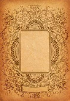 Vintage aged paper photo frame with scrollwork /Ornate Decorative Border Clip Art Rotulação Vintage, Vintage Labels, Vintage Paper, Vintage Images, Vintage Prints, Graphics Vintage, Background Vintage, Paper Background, Textured Background