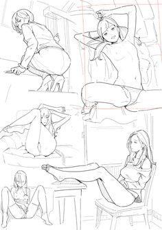 Figure Sketching, Figure Drawing, Drawing Reference, Drawing Poses, Manga Drawing, Manga Art, Character Poses, Character Design, Girl Anatomy
