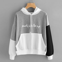 Sweatshirt Fashion Women Letters Long Sleeve Hoodie Sweatshirt Hooded Pullover Tops Aaglione Maglione di moda Gray S Hooded Sweatshirts, Sweatshirts Vintage, Cute Outfits, Clothes For Women, Long Sleeve, Women's Fashion, Fashion Women, Fashion Outfits, Fashion Shirts
