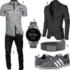 Eleganter Herren-Style mit Sakko und Smartwatch (m0354) #outfit #style #fashion #menswear #mensfashion #inspiration #shirts #weste #cloth #clothing #männermode #herrenmode #shirt #mode #styling #sneaker