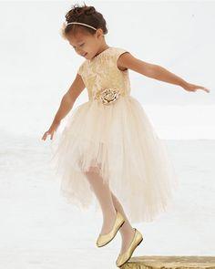 gold brocade princess girls party dress