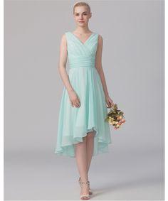 Günstige 2016 günstige High Low Mint Green Chiffon Brautjungfer Kleider unter 50 Vestidos Falten Prom Party Kleider, Kaufe Qualität Brautjungfer Kleider direkt vom China-Lieferanten:                         Hinweis: 1. wenn Sie den Auftrag vergeben, wählen Sie bitte die am besten geeignete Größe