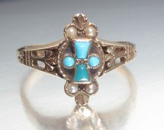 Antique Victorian CROSS Turquoise and Split Pearl Rose Gold Ring 14K