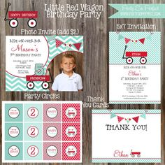 RED WAGON Birthday Party Printable Package by PartySoPerfect