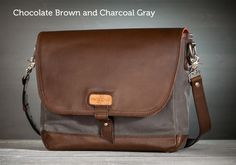 The Messenger Bag by Pad & Quill in Charcoal Gray Canvas and Chocolate Brown Leather