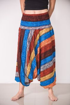 "Amazingly soft Boho Rust Striped Low-Cut Women's Harem Pants.Cotton/Rayon Blend. Free International Shipping on Orders over $60 at HaremPants.com Approx. Measurements: Waist: 24"" to 38"" Hips: up to 44"