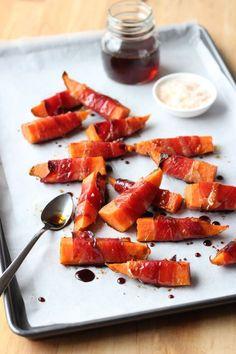 Guest Post by Lisa Bryan – Prosciutto-Wrapped Sweet Potatoes with Maple Balsamic Glaze | www.ThePaleoMom.com #Paleo #glutenfree