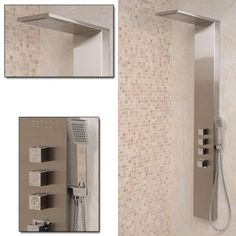 Ensuite shower Aspire brushed steel Shower Panel £219.95  H1600 x W200 x P500