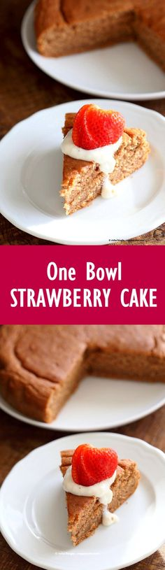 Easy One Bowl Strawberry Cake. Vegan Strawberry Cake with whipped coconut cream or strawberry beet cashew cream frosting. #Vegan