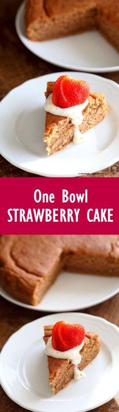 Easy One Bowl Strawberry Cake. Vegan Strawberry Cake with whipped coconut cream or strawberry beet cashew cream frosting. #Vegan #Spring #Cake #Recipe   VeganRicha.com