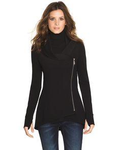 I like the length and style of this jacket/sweater(?) White House Black Market, Ponte Cowl Jacket