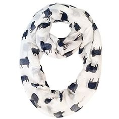 Lina & Lily Dachshund Dog Print Infinity Loop Scarf for Women Lightweight (Black)