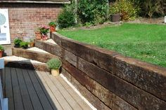 railway sleeper retaining wall - Szukaj w Google