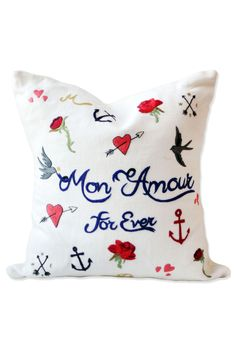 """Embroidered """"Mon Amour Forever"""" Pillow"""