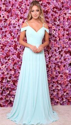 A-Line Chiffon Long Prom Dress Formal Evening Dresses Baby Blue Prom Dresses, Blue Evening Dresses, A Line Prom Dresses, Cheap Bridesmaid Dresses, Trendy Dresses, Elegant Dresses, Nice Dresses, Dress Prom, Dress Wedding