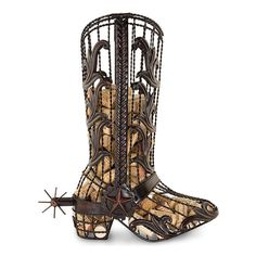 Cork cages are an innovative way to display wine corks. The Cowboy Boot Cork Cage can hold corks or serve as a wine bottle holder. Wine Cork Holder, Wine Bottle Holders, Cowboy Boot Centerpieces, Hm Deco, Home Bar Furniture, Wine Cork Crafts, Iron Work, Western Decor, Western Bar