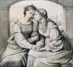 The Morgan Library & Museum Johann Friedrich Overbeck's lovely 'Italia and Germania' will be on view as part of 'Dürer to de Kooning,' opening Oct. 12. (Image: © Staatliche Graphische Sammlung München)