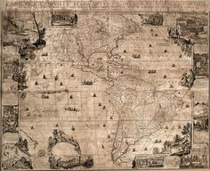 """L'Amerique, one of de Fer's wall maps, originally appeared in 1698. (This copy is a 1717 reprint.) It portrays the entire Western Hemisphere. It denotes several tribal territories, amon them """"Les Cinq Nations Iroquises,"""" the Hurons Nation, the Miami Nation (all in the Great Lakes region and western New York), the Algonquin Nation, and, in the north, the """"Esquimeaux."""" This map remains justifiably famous for the rich array of illustrative cartouches around its border. Engraver Nicolas Gu⥲ard…"""