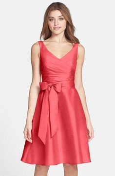 Alfred Sung Satin Fit & Flare Dress | Nordstrom