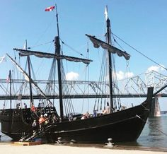 The Nina and the Pinta were docked on the waterfront in downtown Louisville. They traveled down the Ohio River. Replica's of Christopher Columbus' ships.
