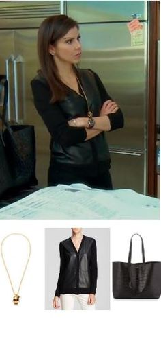 Heather Dubrow's Gold Skull Necklace, Leather Cardigan & Tote http://www.bigblondehair.com/real-housewives/heather-dubrows-gold-skull-necklace-leather-cardigan-tote/