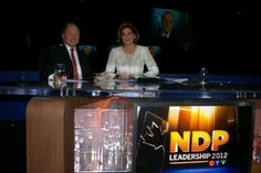 Don Martin and Lisa LaFlamme on set at the NDP Leadership Convention on March 23, 2012.