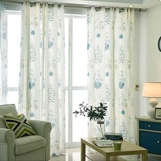 White Curtains Blue Leaf Drapes 2 Panels for Living Room