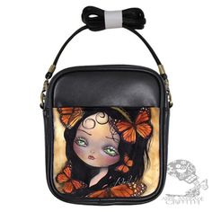 Sling Bag Purse Butterfly monarch Abril Fairy Gothic Painting | surreal_wonderland - Bags & Purses on ArtFire $25.00