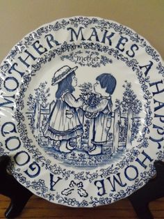 "Mothers Day Plate Royal Crownford Staffordshire England Norma Sherman Blue 9""  #RoyalCrownford"