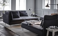 IKEA – Bring more living to your living room with some of our favorite modular sofa set-ups using the SÖDERHAMN sofa. Söderhamn Sofa, Ikea Sofa, Sofa Set, Living Room Sofa, Living Spaces, Living Rooms, Ikea Soderhamn, Grey Corner Sofa, Rooms Ideas