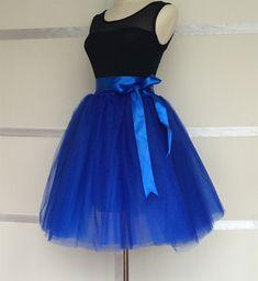 Jupe Tutu en Tulle Bleu pour Adult Femme élastique à la taille (Danse, Photo, Soirée) Ballet Princesse : Jupe par tutubravechic
