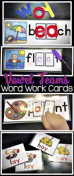 This thorough vowel teams word work card set also includes vocabulary cards that can be used to introduce the words or for games, a  sort, or other activities and ideas. Covers long vowels including ee and ea, ai and ay, ie and igh, and many more. Great for practice of this important phonics skill in a center or teaching a lesson during guided reading. These are very hands on and interactive. This vowel pattern set can be used in a kindergarten, first grade, or a second grade classroom.