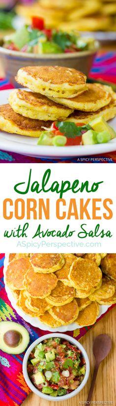 Zesty Jalapeno Corn Cakes with Avocado Salsa   ASpicyPerspective.com