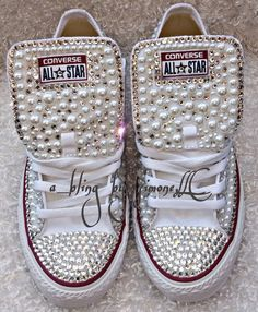 These converse are fully strassed in pearls and high quality crystals. Perfect for weddings, receptions, prom, pictures or a birthday party. They can be done in any color or size.