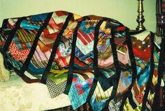 Quilt made from neckties by Alice. Iowa Made!  #necktie #upcycle