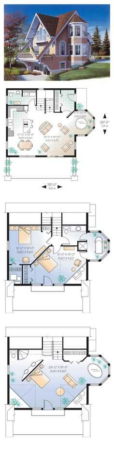 Hillside House Plan 65284 | Total Living Area: 1325 sq. ft., 2 bedrooms & 1.5 bathrooms. Access to private balcony at 2nd level, built-ins, terrace, special ceiling treatments, abundant and special fenestration. #hillsideplan #houseplan