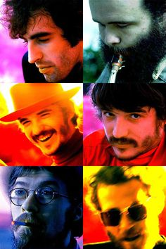 The Band; Top: Richard Manuel, Garth Hudson.  Center: Rick Danko.  Bottom: Robbie Robertson, Levon Helm.